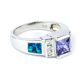 Australian Blue Opal Princess Cut Tanzanite Ring