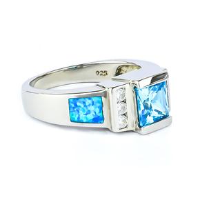Australian Blue Opal Princess Cut Blue Topaz Ring