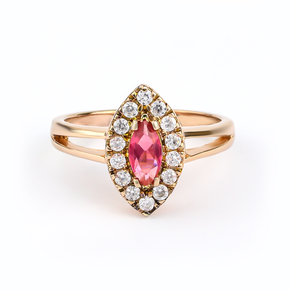 Marquise Cut Ruby Ring Sterling Silver With 14K Rose Gold Vermeil