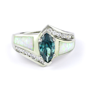 Marquise Cut Alexandrite Opal Sterling Silver Ring
