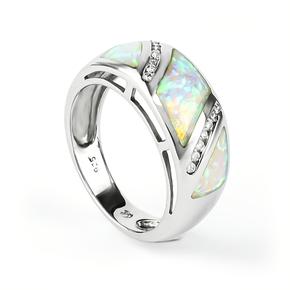 Australian White Opal Sterling Silver Ring