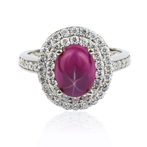 Oval Cut Cabuchon Setting Star Ruby Ring