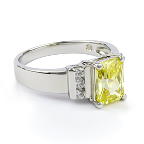 Emerald Cut Citrine Sterling Silver Ring