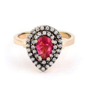 Ruby Ring Sterling Silver With 14K Rose Gold Vermeil