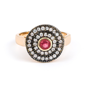 Round Cut Ruby Sterling Silver Antique Finish Ring
