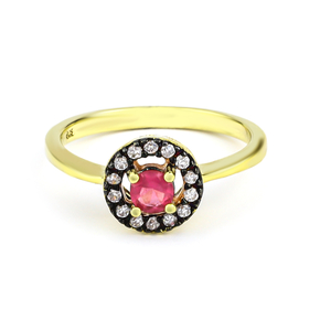 Red Ruby Silver Ring Gold Plated