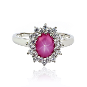 Oval Cut Cabuchon Star Ruby Ring, Engagement Ring