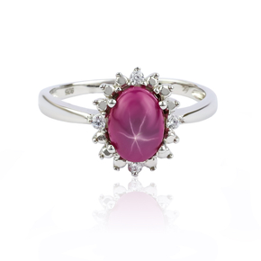 Cabuchon Star Ruby Sterling Silver Ring