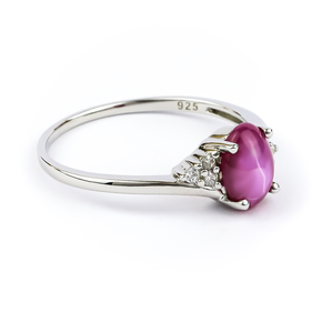 Star Ruby Sterling Silver Solitaire Ring