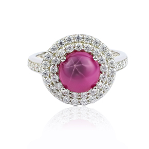 Pave Setting Star Ruby Ring
