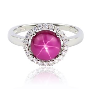 Round Cut Cabuchon Setting Star Ruby Ring