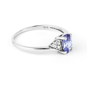 Solitaire Oval Cut Tanzanite Sterling Silver Ring