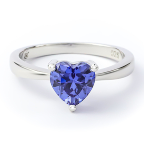 Heart Shape Tanzanite Sterling Silver Solitaire Ring