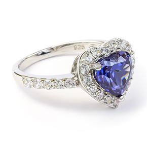 Heart Tanzanite Sterling Silver Ring