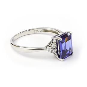 Emerald Cut Tanzanite Sterling Silver Ring