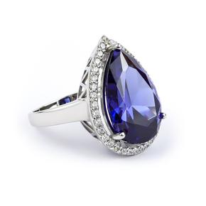 Big Tanzanite Sterling Silver Ring Pear Cut