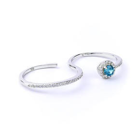 Alexandrite Double Silver Ring With Solid Silver