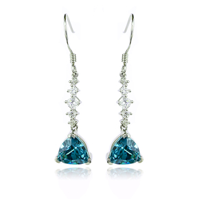 Silver Drop Earrings Trillion Cut Alexandrite