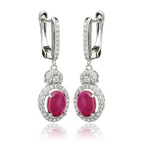 Dangling Star Ruby Sterling Silver Earrings