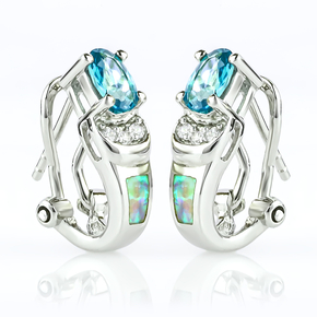 Omega Closure White Opal With Alexandrite .925 Silver Earrings