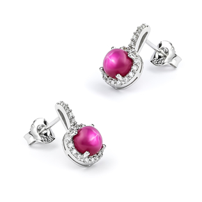 Earrings with Star Ruby Sterling Silver 15 mm x 10 mm