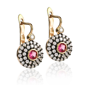 Round Cut Ruby Earrings Sterling Silver With 14K Rose Gold Vermeil