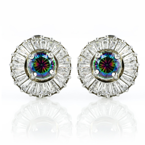 Mystic Topaz Silver Earrings with Simulated Diamonds