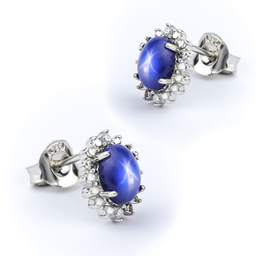 Luxurious Silver Earrings with Star Sapphire