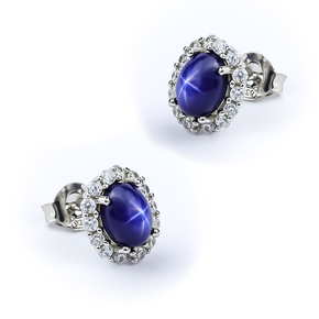 Silver Princess Cut Earrings with Star Sapphire