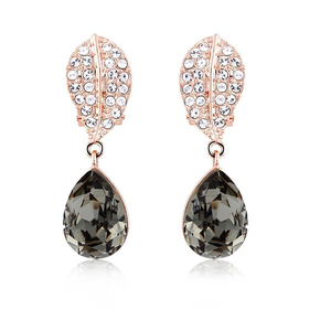 Black Earrings Swarovski With Gold Plated
