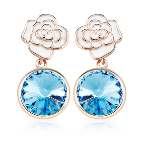 Blue Earrings With Flower