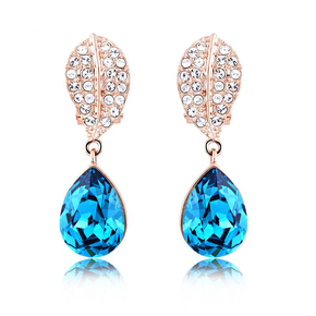 Blue Earrings With Gold Plated
