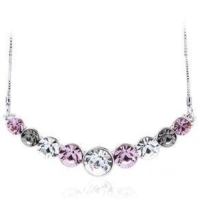 Beautiful Pink Circles Swarovski Necklace