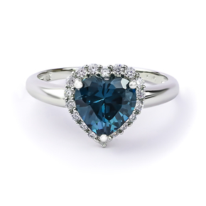 Alexandrite Blue To Green Color Change Sterling Silver Heart Ring