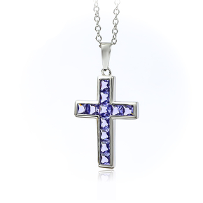 Sterling Silver Cross With Tanzanite With Silver Chain