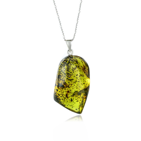 Silver Pendant With Genuine Amber