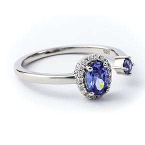 Double Tanzanite Sterling Silver Solitaire Ring