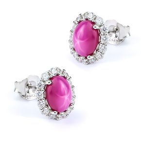 Stud Earrings with Star Ruby Sterling Silver 13 mm x 11 mm