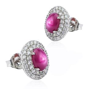 Star Ruby Sterling Silver Earrings 15 mm x 13 mm