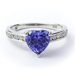 Heart Shape Tanzanite Sterling Silver Ring