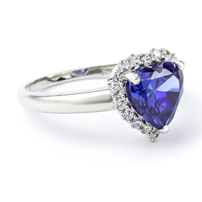 Tanzanite Sterling Silver Solitaire Ring Heart Shape