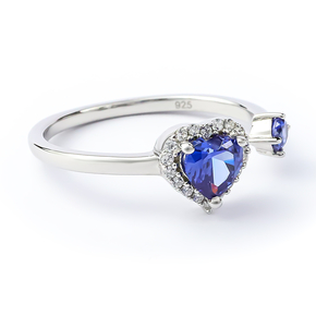 Double Tanzanite Sterling Silver Solitaire Ring Heart Shape