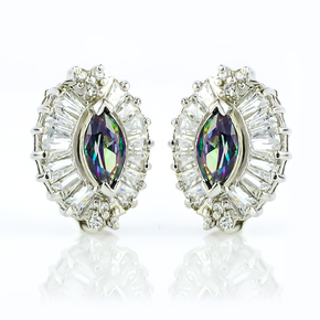Mystic Topaz Silver Marquise Cut Stone Earrings