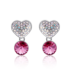Pink Heart Swarovski Earrings