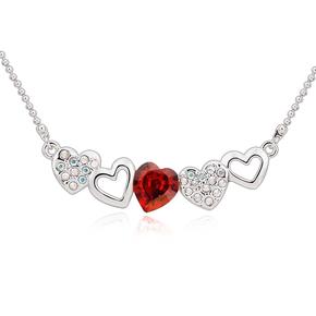 Beautiful Red Swarovski Heart Necklace