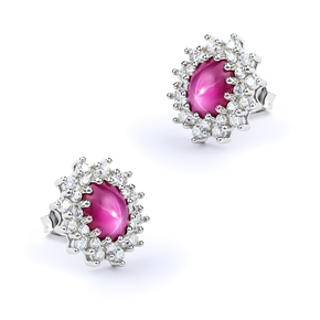 Earrings with Star Ruby Sterling Silver 16mm x 13mm