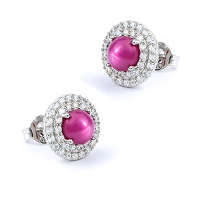 Stud Earrings with Star Ruby Sterling Silver 18 mm
