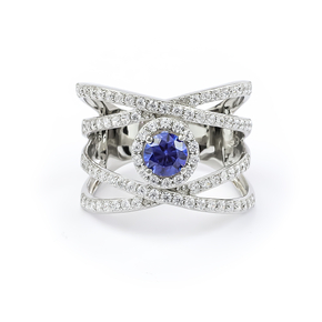 Beautiful Tanzanite Cocktail Ring with Sterling Silver