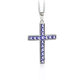 Sterling Silver Cross With Tanzanite With Silver Chain 40 mm x 24 mm