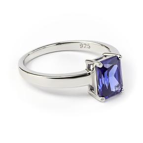 Emerald Cut Tanzanite Silver Ring